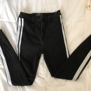 Black and white pinstripe jeans